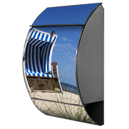 briefkasten arcus mit motiv strandkorb am meer. Black Bedroom Furniture Sets. Home Design Ideas
